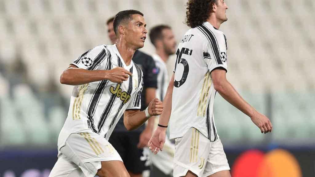 Cristiano celebra uno de sus goles frente al Lyon