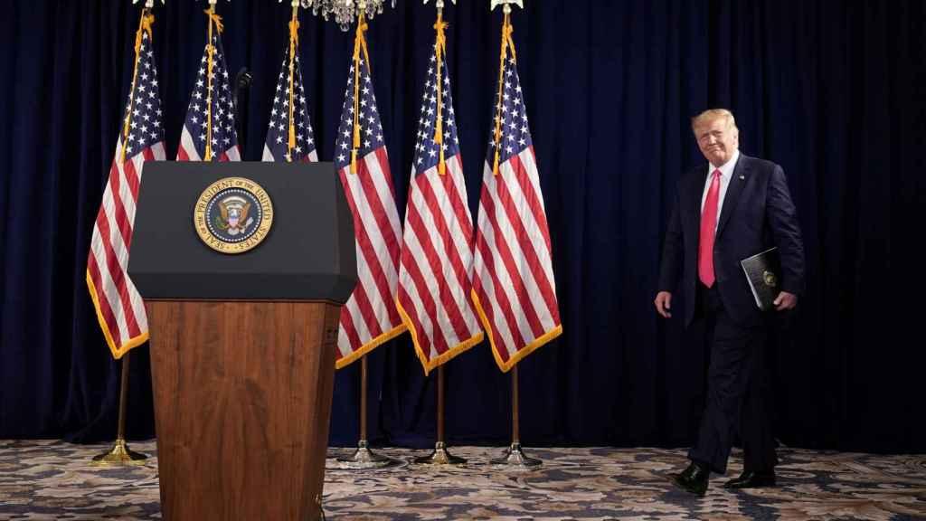 Donald Trump, en la conferencia de prensa organizada en su club de golf en Bedminster, en Nueva Jersey.