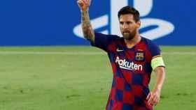 Leo Messi, en el partido del Barcelona ante el Nápoles de la Champions League