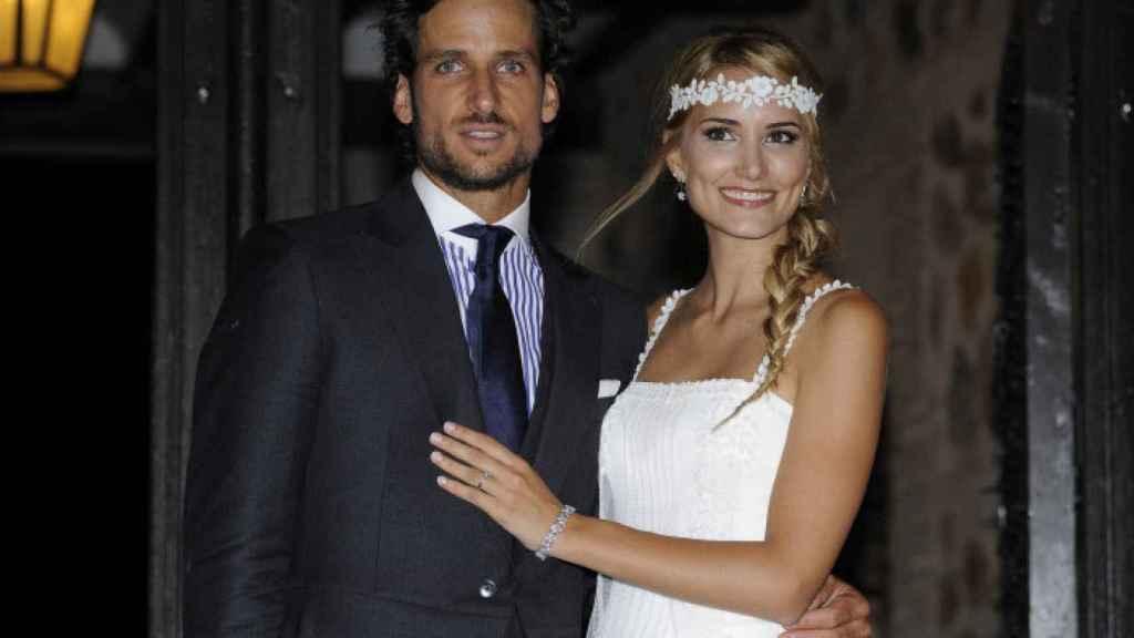 Feliciano López y Alba Carrillo, durante su boda.