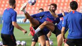 Diego Costa durante el último entrenamiento del Atlético de Madrid