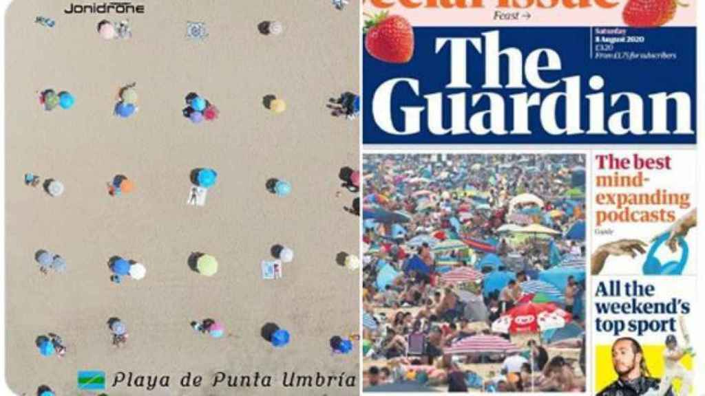 Comparativa de una playa de Punta Umbría y la inglesa de Bournemouth.