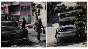 Miembros del Ejército mexicano  buscan en los restos de un enfrentamiento entre grupos armados.
