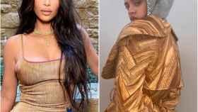 Kim Kardashian y Rosalía luciendo prendas con estampado de madera.