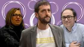 Rocío Val, Juanma del Olmo (en el centro, con una camiseta de los 'papeles de Bárcenas') y Daniel de Frutos.