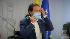 Pablo Iglesias, vicepresidente segundo del Gobierno, en una rueda de prensa en Moncloa.