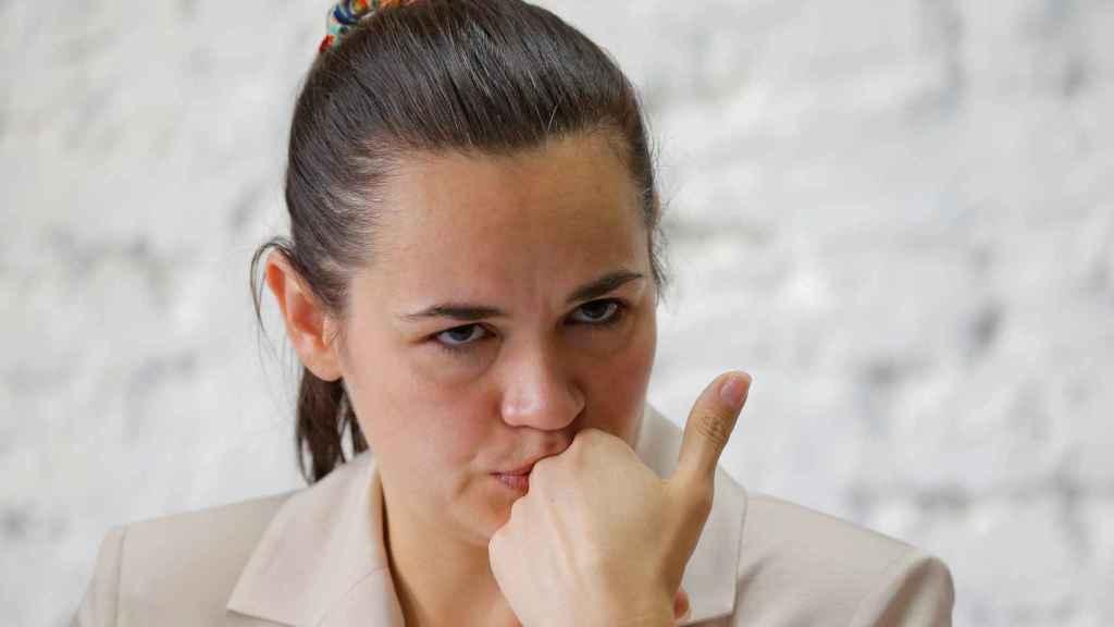 La opositora bielorrusa Tijanóvskaya, en una imagen de archivo.