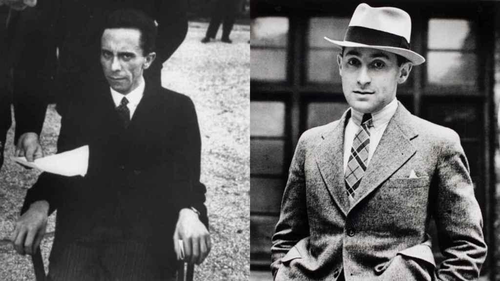 Joseph Goebbels (izquierda), se da cuenta de que su fotógrafo es judío. A la derecha, Alfred Eisenstaedt.
