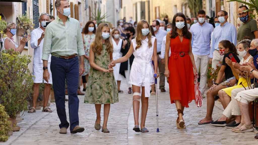 La Familia Real, este lunes, en su primer acto público en Palma de Mallorca.