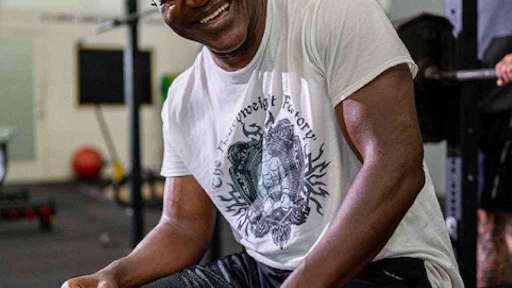 Holyfield durante una sesión de gimnasio