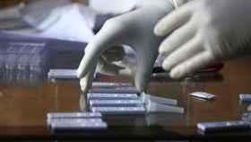 Científicos analizando muestras.