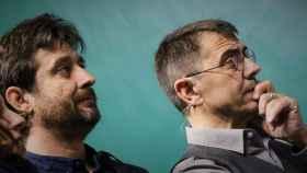 Rafa Mayoral y Juan Carlos Monedero, en un acto de Unidos Podemos en Pamplona.