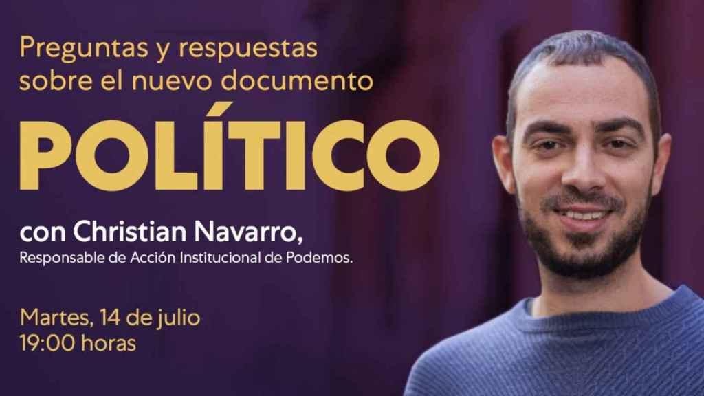 Christian Navarro, responsable de Acción Institucional de Podemos.