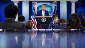 Trump en una rueda de prensa en la Casa Blanca.