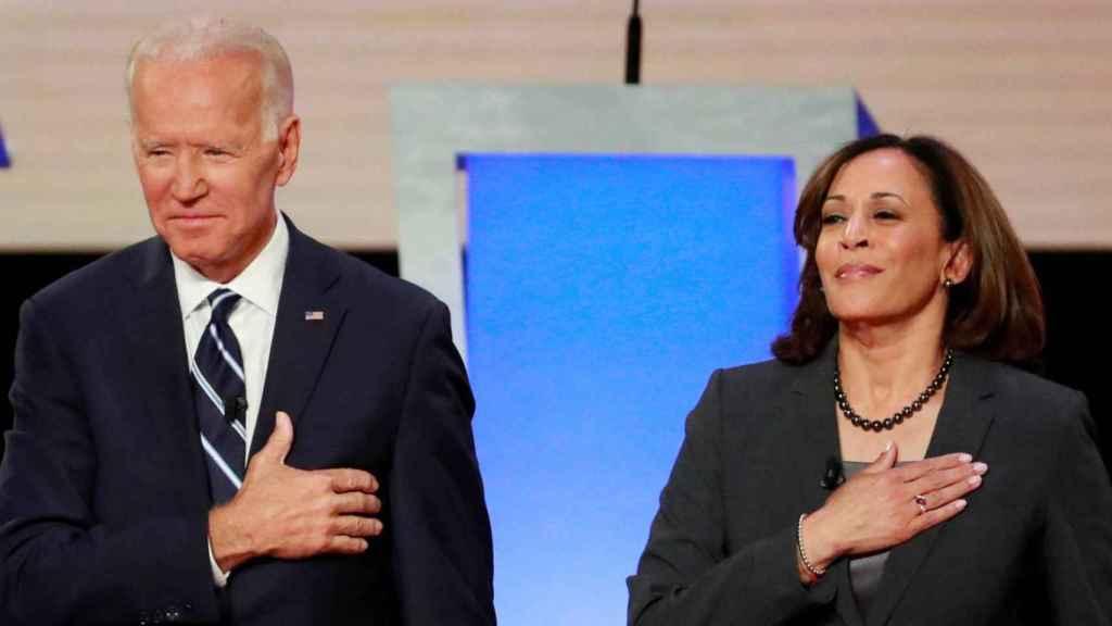Joe Biden y Kamala Harris durante un acto de la campaña electoral.