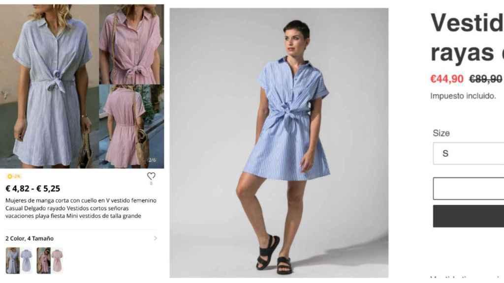 A la izquierda vestido en la web de Aliexpress, y a la derecha vestido en la tienda de Mar Flores.