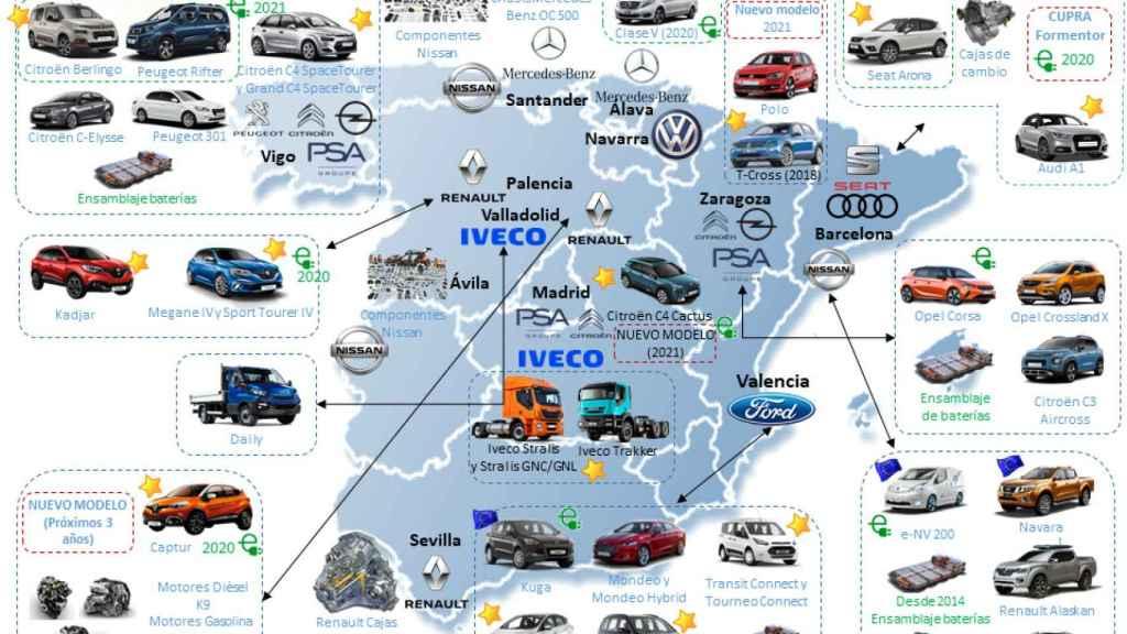 Mapa de fábricas de producción y modelos.