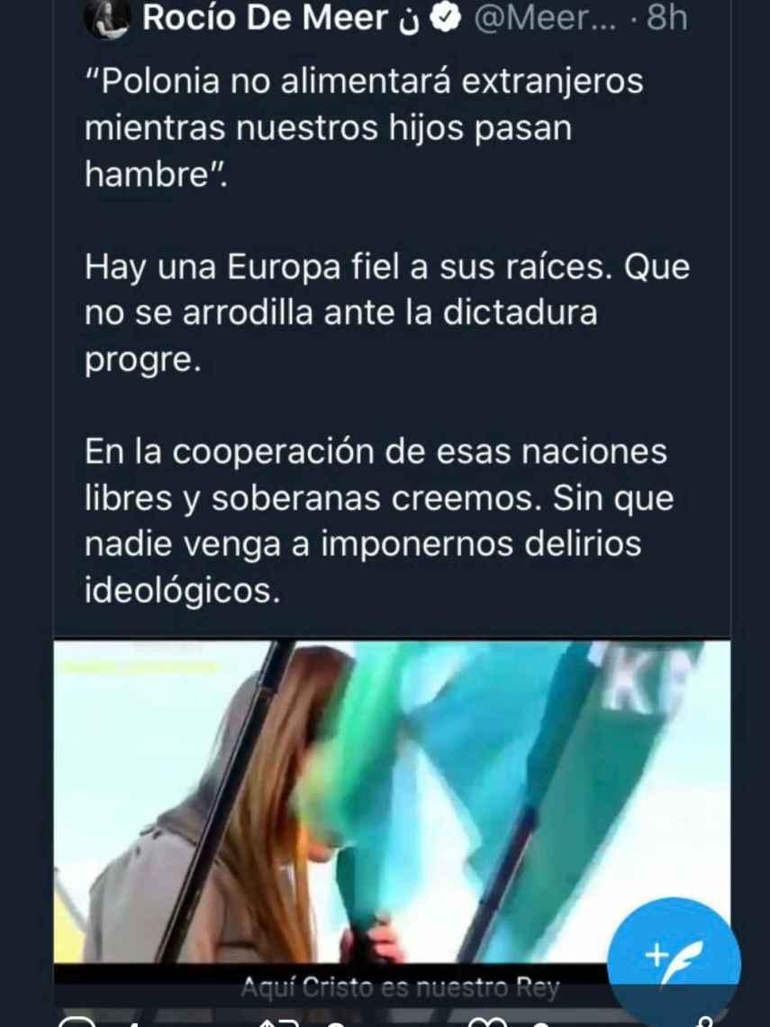 El tuit original publicado por Rocío de Meer, que posteriormente borró.