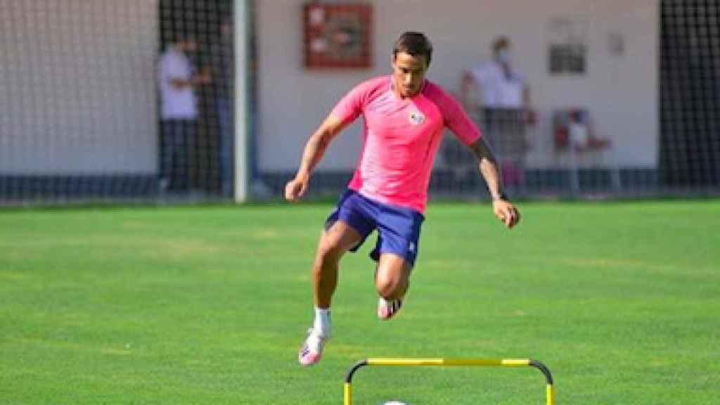 Oscar Trejo durante un entrenamiento del Rayo Vallecano