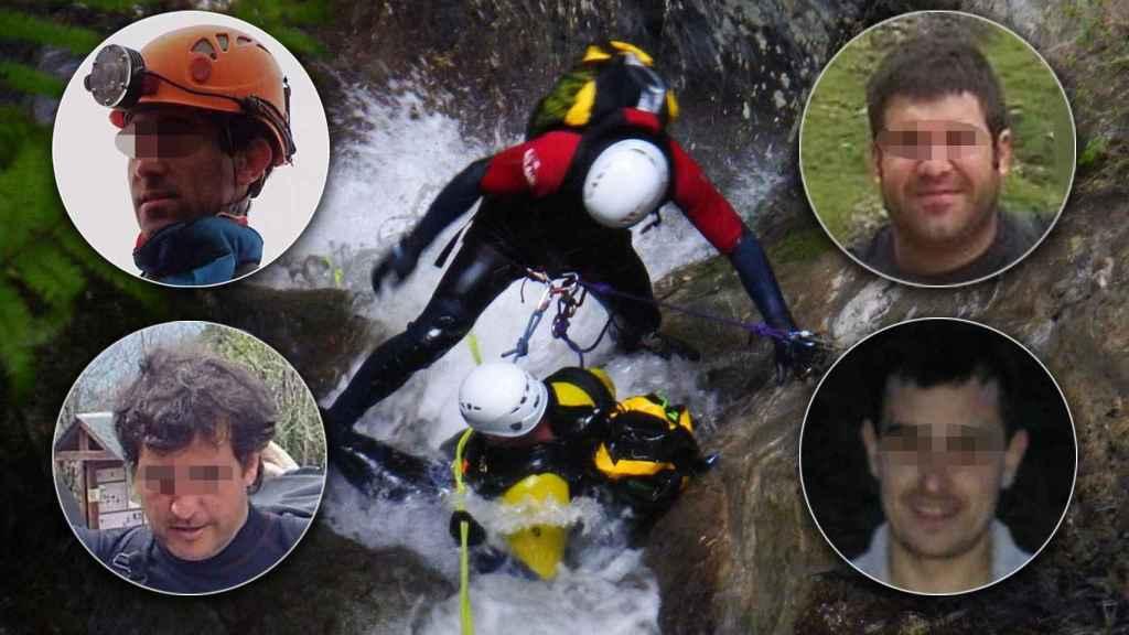 Diego Maeztu, Mikel Lasa, Tontxu González, Mikel Zambala son los cuatro barranquistas que han sufrido el trágico accidente en Suiza