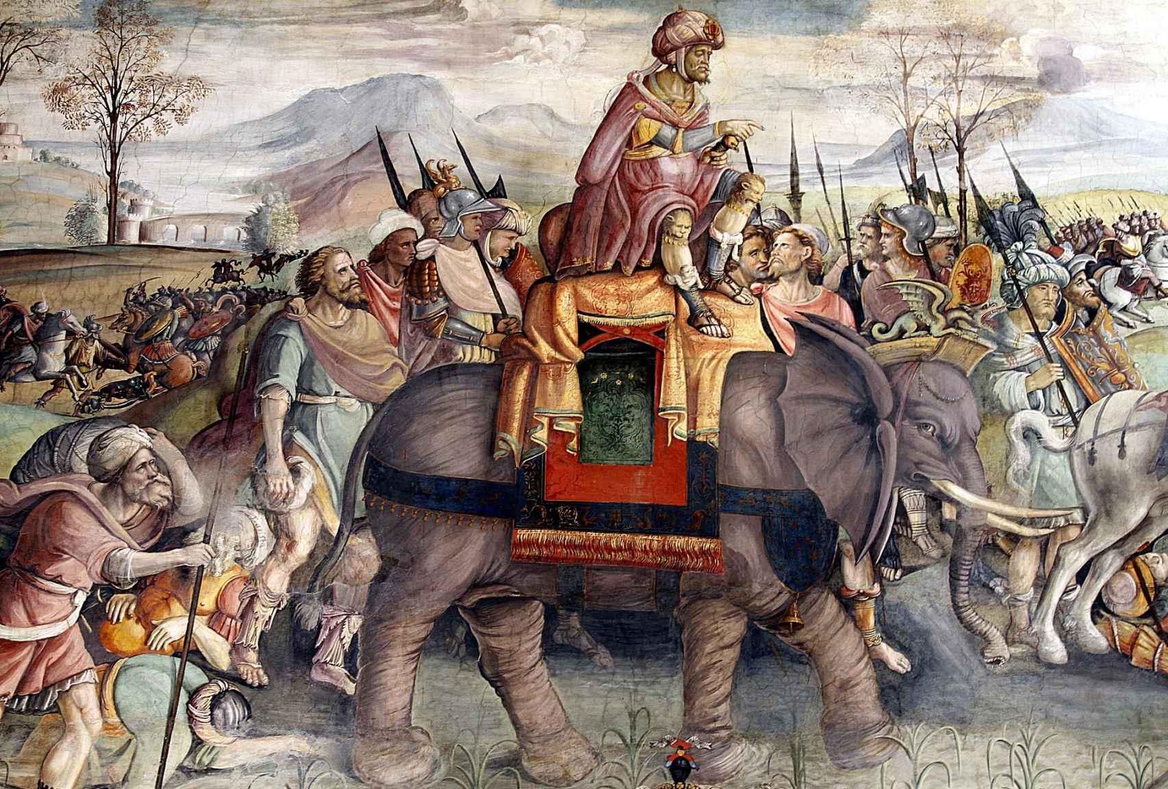 Aníbal cruzando los Alpes para enfrentarse a los romanos.