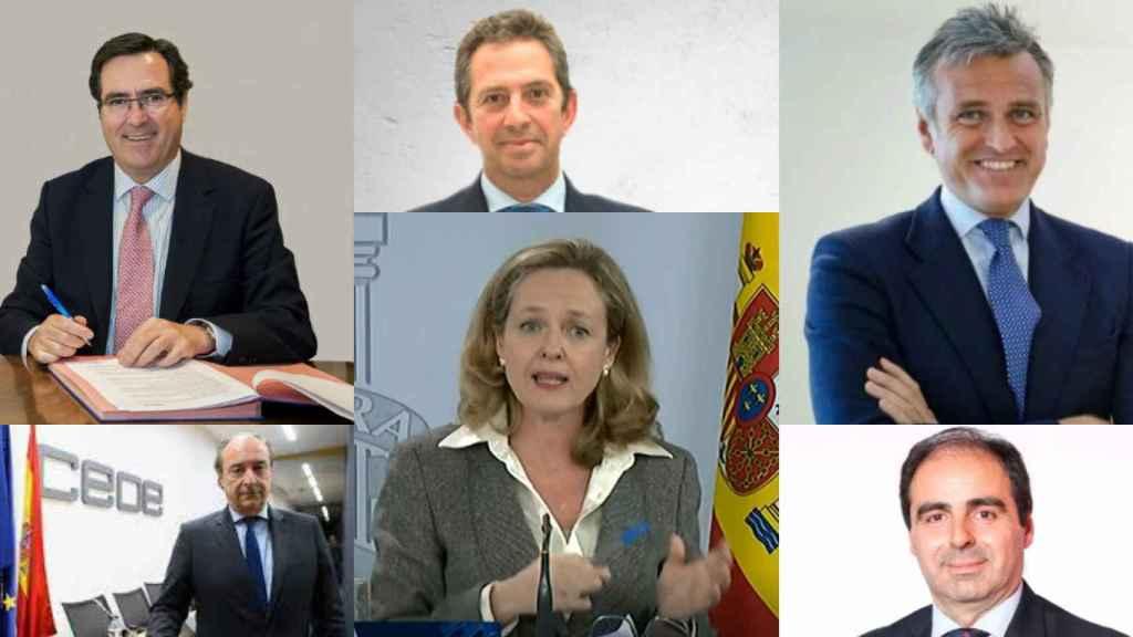 Antonio Garamendi, Íñigo Fernández de Mesa, Gonzalo Sánchez, José Alberto González-Ruiz, Nadia Calviño y Manuel Martín Espada.
