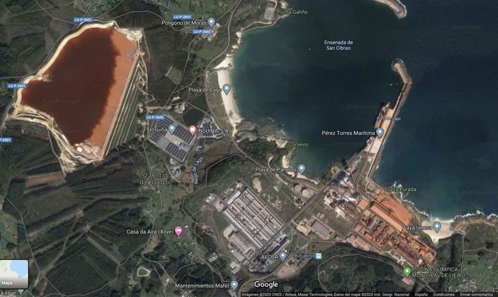 Vista áerea del Complejo Industrial de Alcoa en San Cibrao (Lugo)