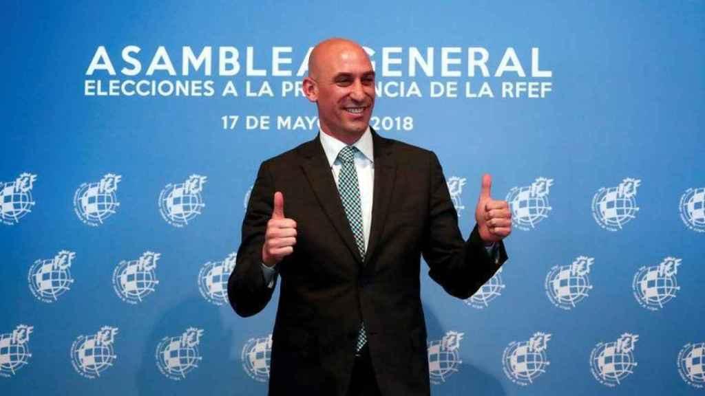 Luis Rubiales durante la Asamblea de la RFEF en 2018