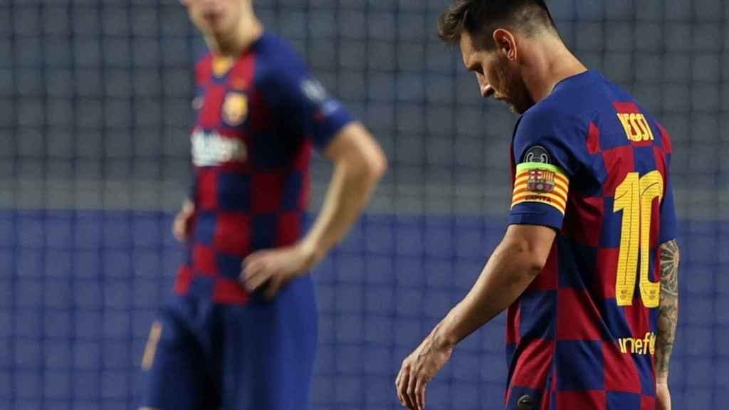 Leo Messi, cabizbajo durante el duelo entre el Barcelona y el Bayern