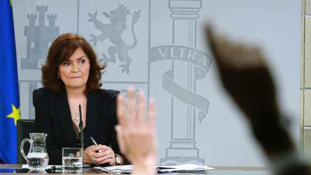 La vicepresidenta primera del Gobierno, Carmen Calvo, durante una rueda de prensa.
