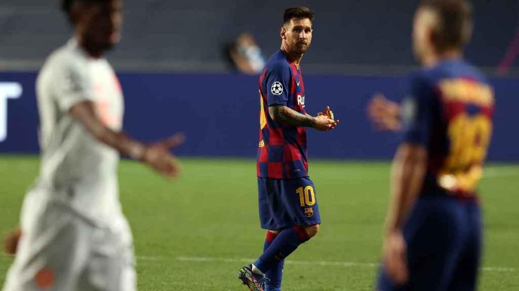 Leo Messi durante el Bayern-Barcelona de Champions