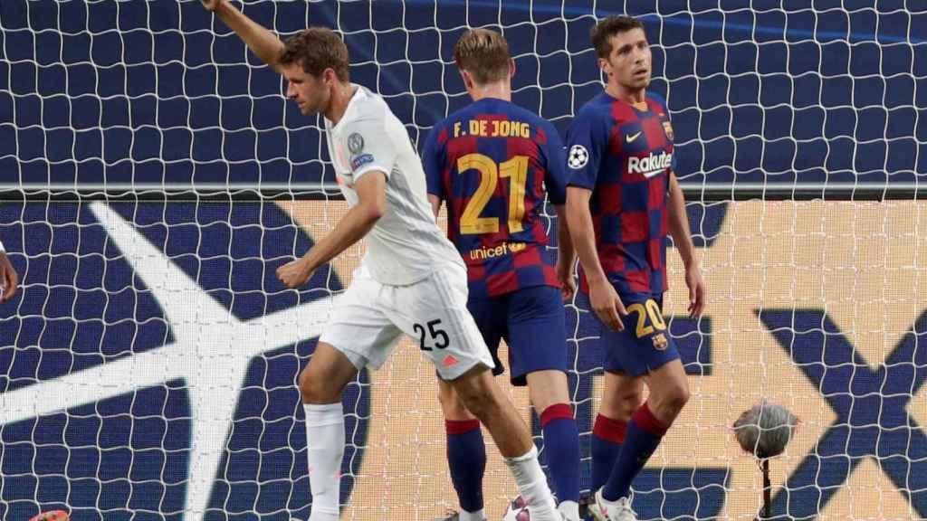 Thomas Muller celebra un gol ante el Barça