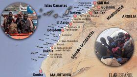 Así es la ruta de la inmigración hacia las Canarias.