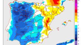 El mapa de temperaturas mínimas en España.