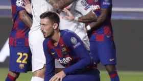 Philippe Coutinho no celebra uno de sus goles ante el Barça