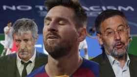 Quique Setién, Leo Messi y Josep Maria Bartomeu