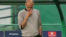 Pep Guardiola, durante el partido entre el Manchester City y el Olympique de Lyon