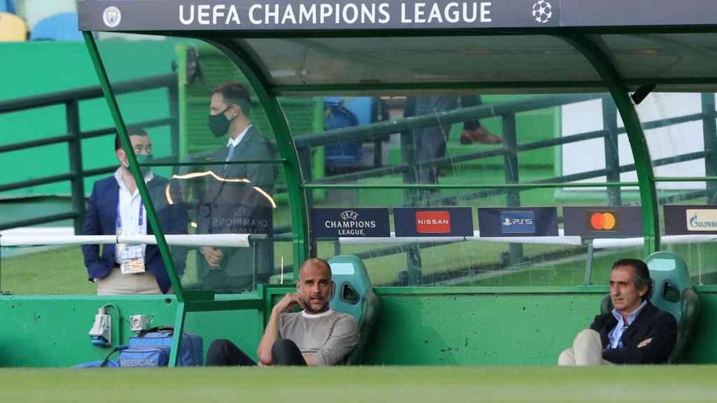 Pep Guardiola, en el partido entre el Manchester City y el Olympique de Lyon