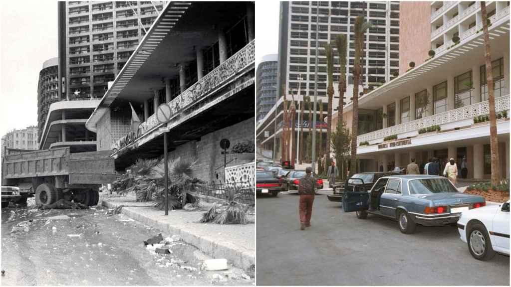 A la izquierda el Hotel Fenicia completamente destruido en 1976. A la derecha, su reapertura en el año 2000.