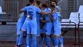 El Girona celebra un gol en el campo del Almería