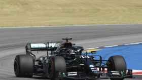 Hamilton durante el Gran Premio de España