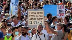 Algunos de las personas concentradas este domingo en Madrid.