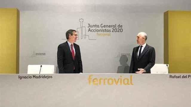 El presidente de Ferrovial, Rafael del Pino, y su consejero delegado, Ignacio Madridejos.