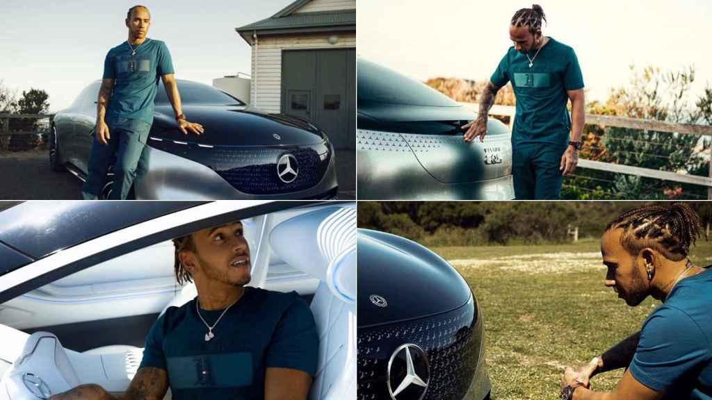 Montaje con la sesión de fotos de Lewis Hamilton y el prototipo del Mercedes EQS.