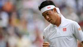 Kei Nishikori, durante un torneo en 2019