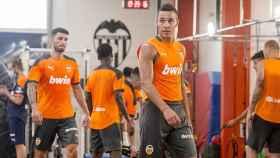 Rodrigo Moreno, durante un entrenamiento en el gimnasio en la pretemporada del Valencia de cara al año 2020/2021