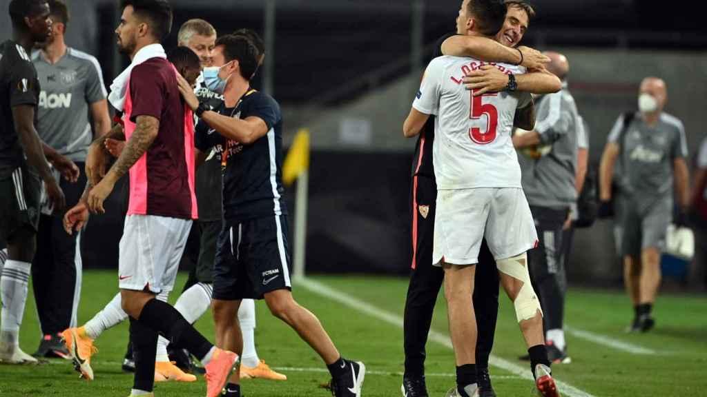 El Sevilla celebra el pase a la final de Europa League
