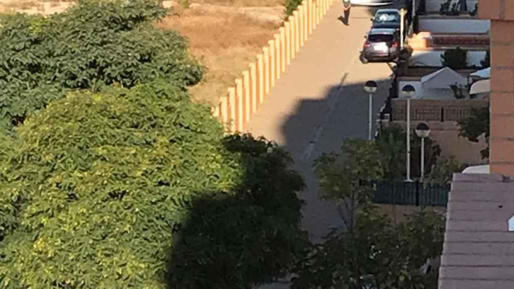 Los investigadores de la Guardia Civil desplegaron un biombo para que los vecinos no pudiesen ver el cuerpo sin vida del padre
