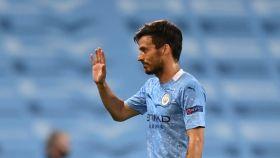 David Silva durante un partido del Manchester City