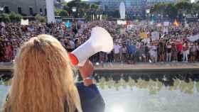 Vista de los asistentes a la manifestación del domingo por la tarde en la plaza de Colón de Madrid.